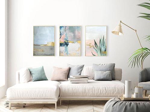 3 הדפסים מיקס אבסטרקט בוטני ורוד כחול אפור זהב