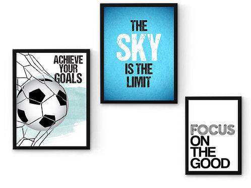 סט 3 הדפסים כדורגל בגוון כחול ומנטה
