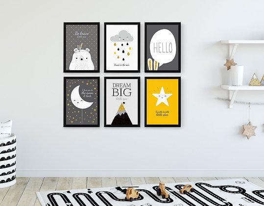 6 הדפסים נורדי שחור צהוב אפור