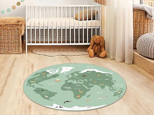 שטיח פיויסי עגול בשלושה צבעים Animal world map