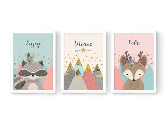 3 הדפסים חיות היער והרים ורוד מנטה שמנת