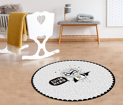שטיח פיויסי עגול אריה סופרהירו שחור לבן