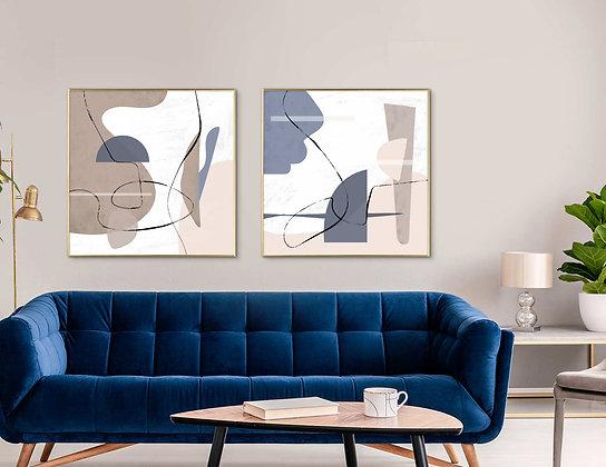 סט 2 הדפסים אבסטרקט צורות כחול בז׳