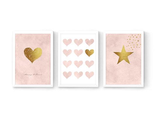 סט 3 הדפסים לבבות וכוכב ורוד בלאש