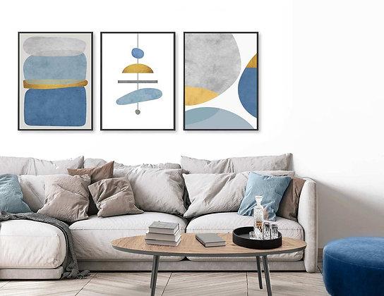 3 הדפסים אבסטרקט שנדליר כחול מנטה אפור צהוב
