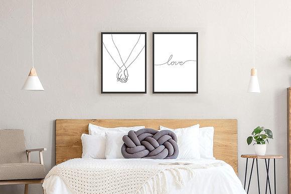 2 הדפסים אהבה בקו שחור ידיים love