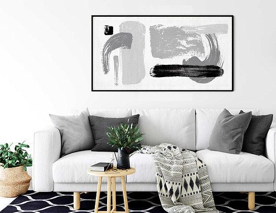 קנבס רוחבי אבסטרקט משיכות מכחול שחור לבן