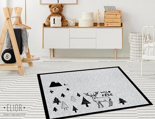 שטיח פיויסי מרובע Wild and Free שחור אפור