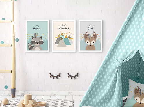 סט 3 הדפסים חיות היער מנטה אפור שמנת ב׳