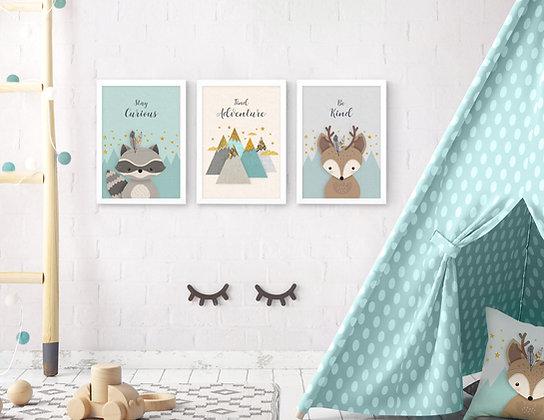3 הדפסים חיות היער מנטה אפור שמנת ב׳