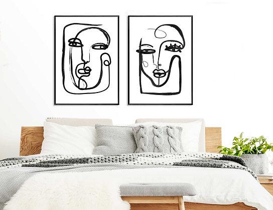 2 הדפסים פנים בקו שחור