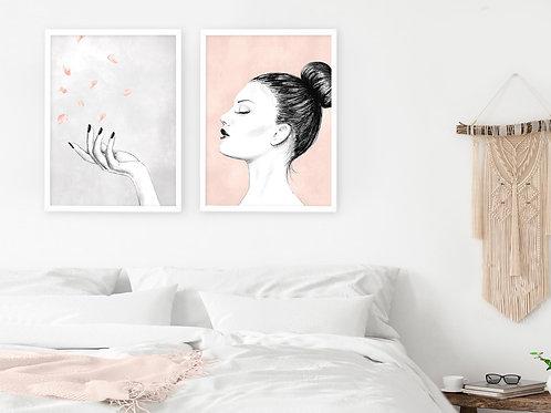 סט 2 הדפסים אשה ופרחים בורוד ואפור - איסוף מיריד החלומות בלבד