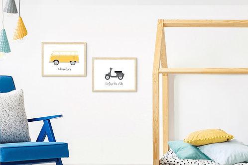 סט 2 הדפסים כלי רכב בשחור וצהוב