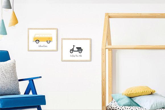 2 הדפסים כלי רכב וינטאג' בשחור וצהוב