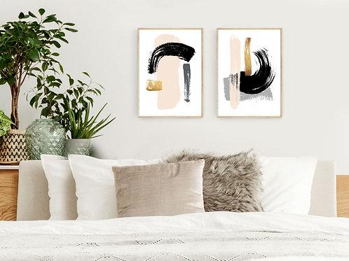 סט 2 הדפסים אבסטרקט אפרסק שחור זהב