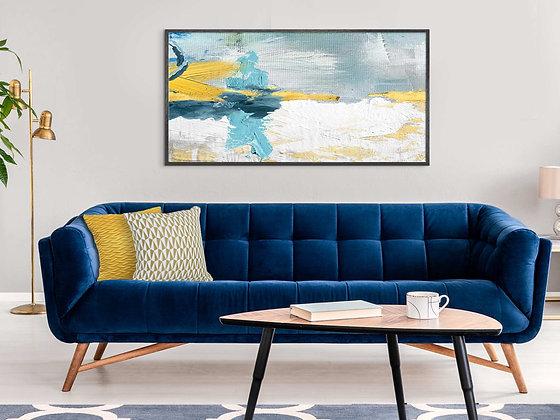 קנבס רוחבי אבסטרקט צהוב כחול ירוק אפור זהב