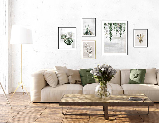 5 הדפסים בוטניים לקיר גלריה בז׳ ירוק אפור