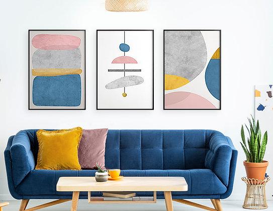 3 הדפסים אבסטרקט שנדליר אפור כחול ורוד צהוב