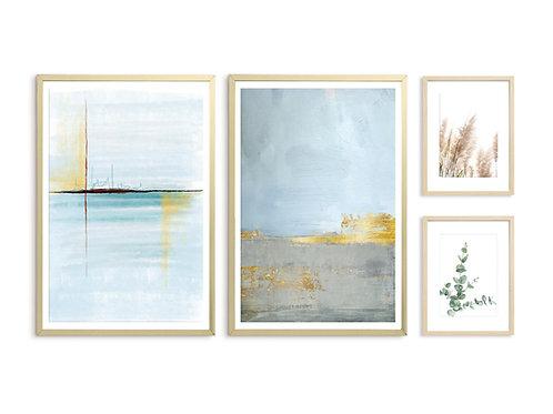 סט 4 הדפסים לקיר גלריה כחול טורקיז צהוב חרדל אפור זהב