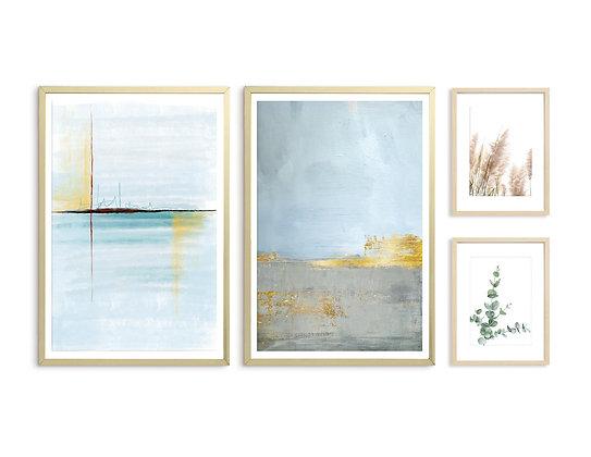 4 הדפסים לקיר גלריה כחול טורקיז צהוב חרדל אפור זהב