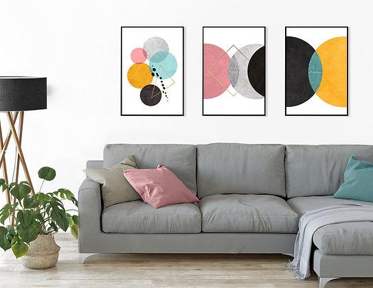 3 הדפסים אבסטרקט עיגולים אמצעי ורוד על רקע לבן