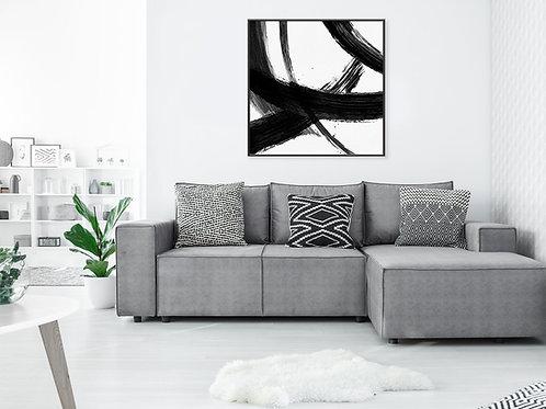 הדפס אבסטרקט משיכות מכחול ריבועי שחור לבן