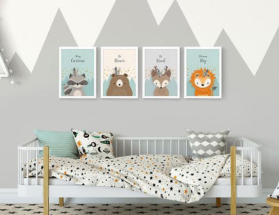 4 הדפסים חיות היער מנטה אפור שמנת כתום