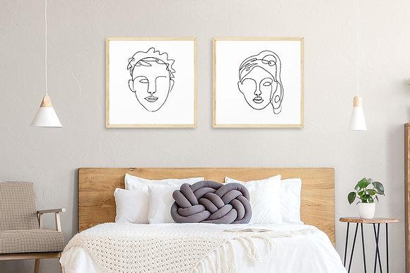 2 הדפסים איש ואישה שחור לבן