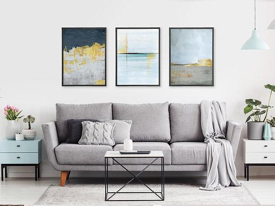 3 הדפסים אבסטרקט משיכות מכחול ואושן אפור כחול זהב
