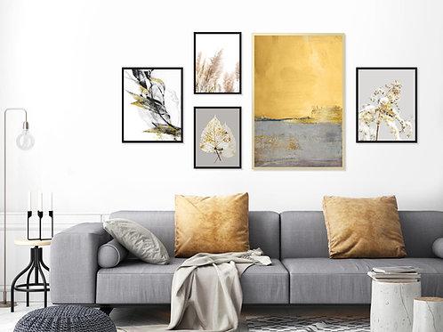 סט 5 הדפסים לקיר גלריה צהוב חרדל אפור שחור זהב - איסוף מיריד החלומות בלבד