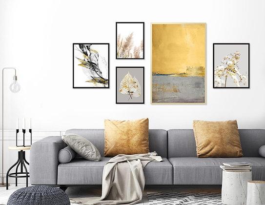 5 הדפסים לקיר גלריה צהוב חרדל אפור שחור זהב