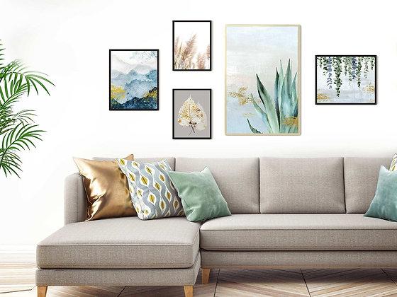 5 הדפסים בוטניים לקיר גלריה כחול ירוק אפור זהב