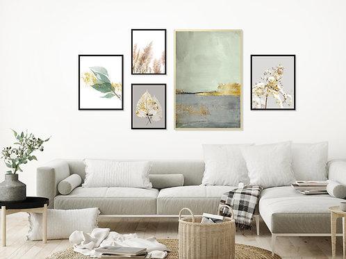 סט 5 הדפסים לקיר גלריה ירוק אפור זהב