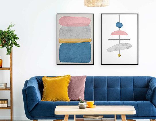 2 הדפסים אבסטרקט שנדליר אפור כחול ורוד צהוב