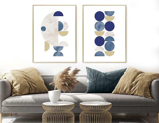 2 הדפסים אבסטרקט עיגולים כחול חרדל