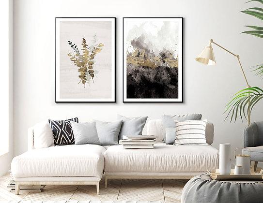 2 הדפסים מיקס אבסטרקט בוטני שחור וברונזה