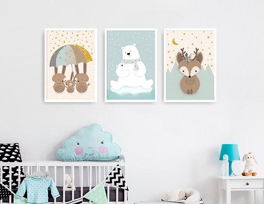3 הדפסים אייל דב וארנבים