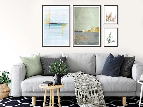 4 הדפסים לקיר גלריה אבסטרקט בוטני ירוק טורקיז אפור זהב