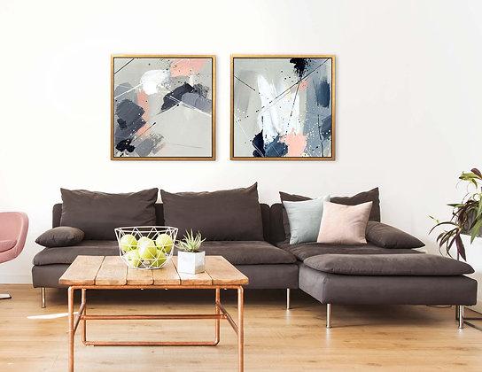 שני ציורי אבסטרקט 60/60 ס״מ //0021