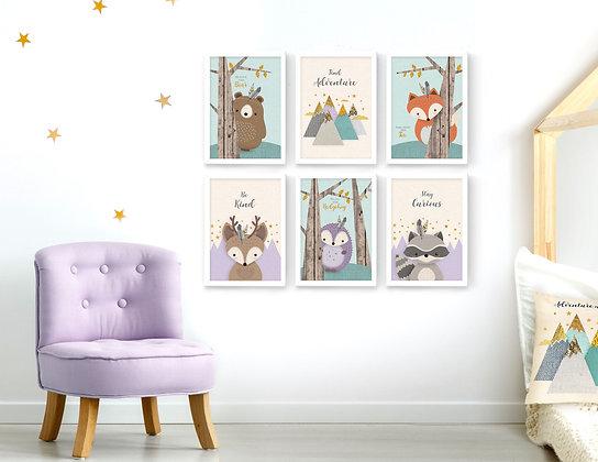 6 הדפסים חיות היער סגול מנטה שמנת