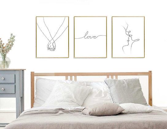 3 הדפסים אהבה בקו שחור ידיים love ודמויות
