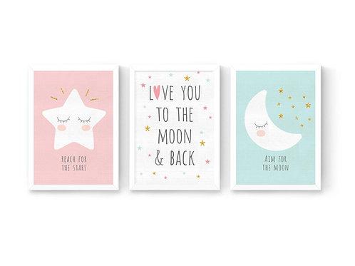 סט 3 הדפסים ירח כוכב ומשפטי השראה ורוד-מנטה-לבן