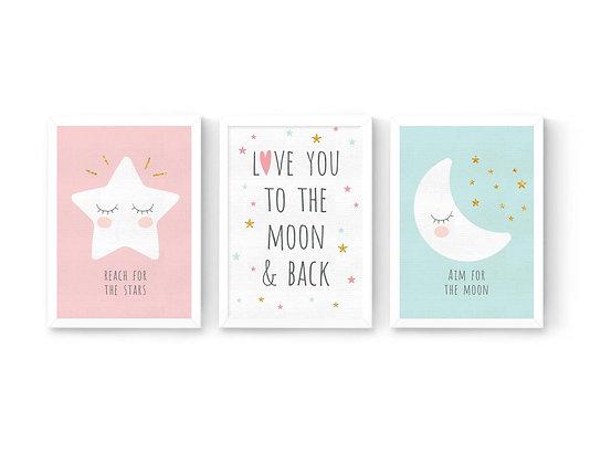 3 הדפסים ירח כוכב ומשפטי השראה ורוד-מנטה-לבן