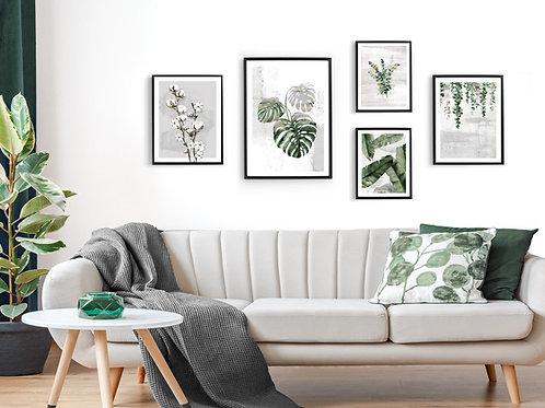 סט 5 הדפסים בוטניים לקיר גלריה ירוק אפור 001