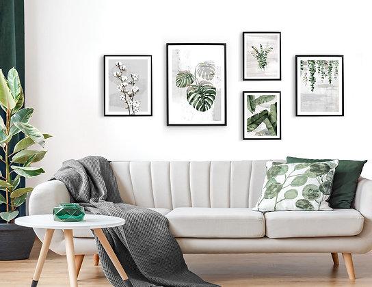 5 הדפסים בוטניים לקיר גלריה ירוק אפור