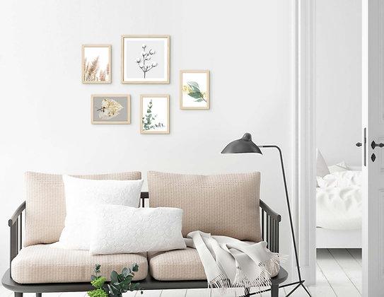 סט 5 הדפסים בוטניים לקיר גלריה ירוק אפור זהב 003
