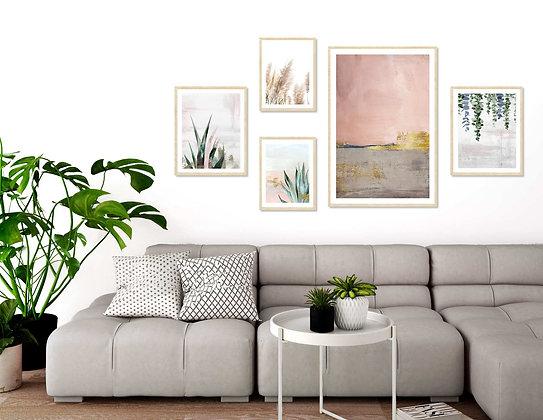 5 הדפסים אבסטרקט בוטני לקיר גלריה ורוד ירוק אפור זהב