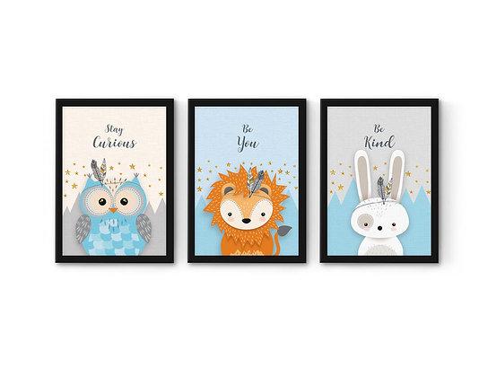3 הדפסים ארנב אריה וינשוף תכלת-אפור-שמנת