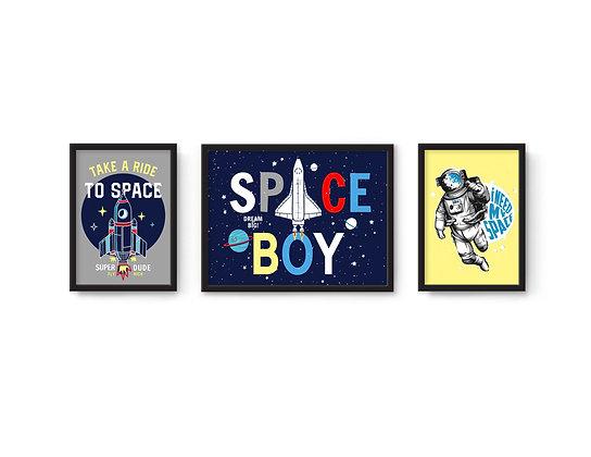 3 הדפסים Space כחול צהוב אפור