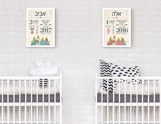 2 הדפסים תעודות לידה ורוד מנטה